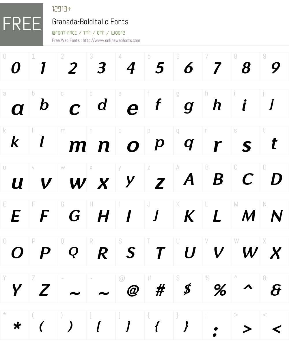 Granada Font Screenshots