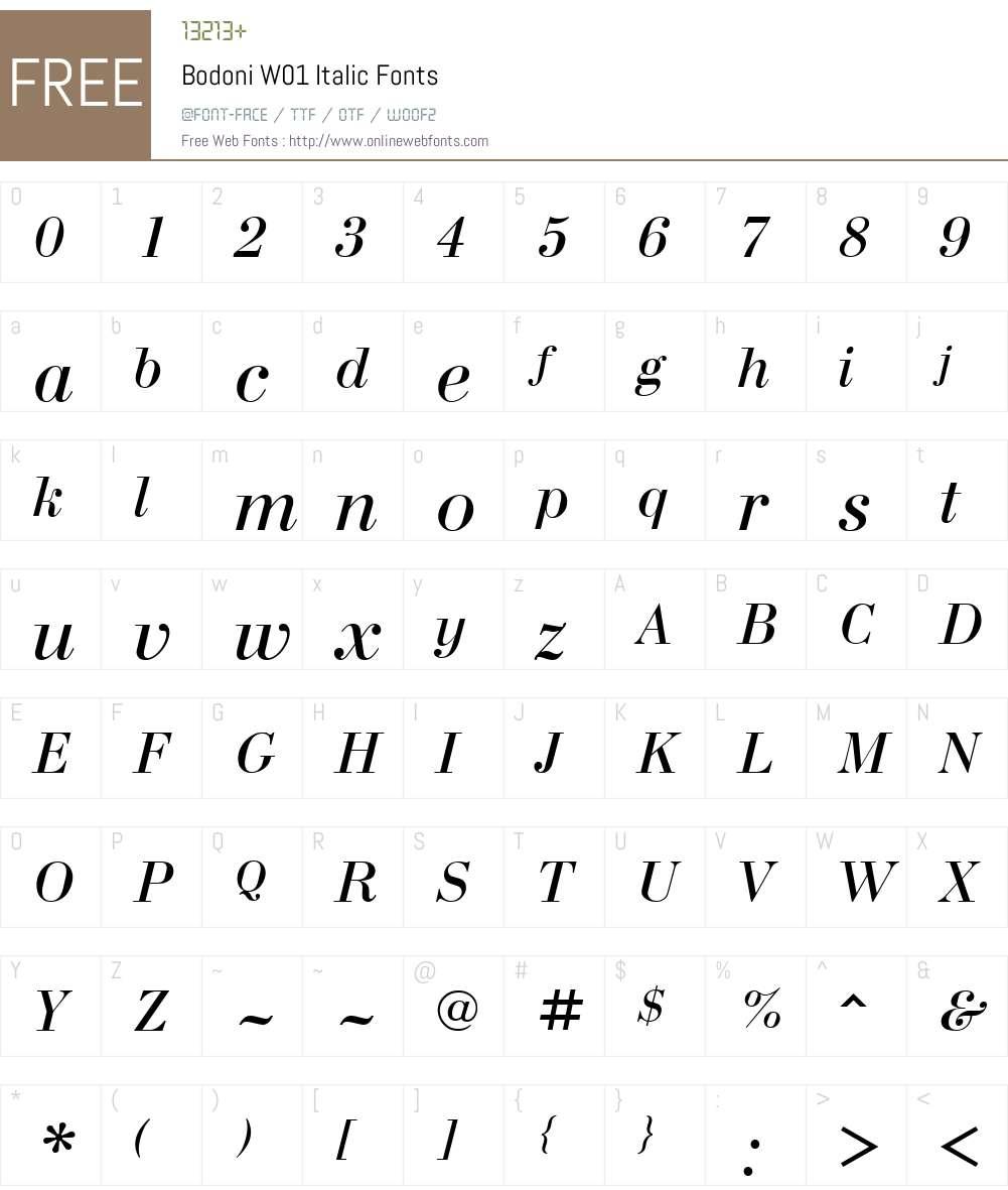 BodoniW01-Italic Font Screenshots
