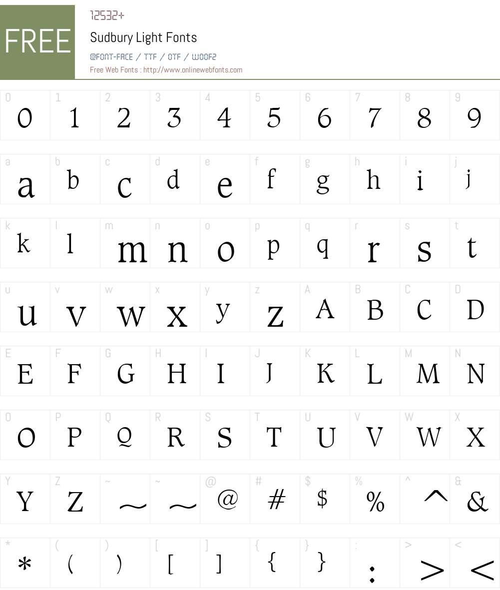 Sudbury Light Font Screenshots
