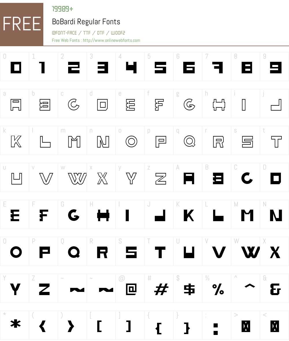BoBardi Font Screenshots