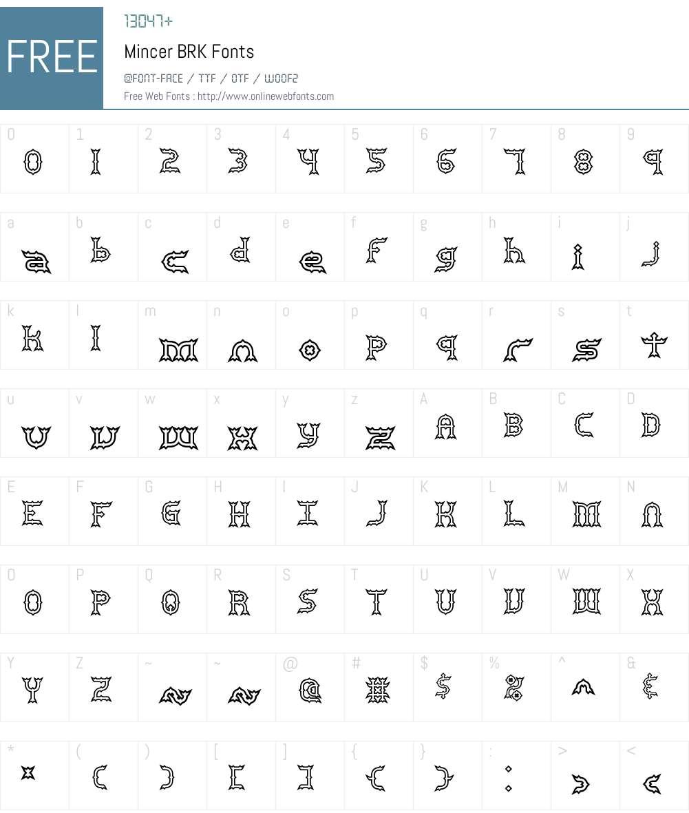 Mincer BRK Font Screenshots
