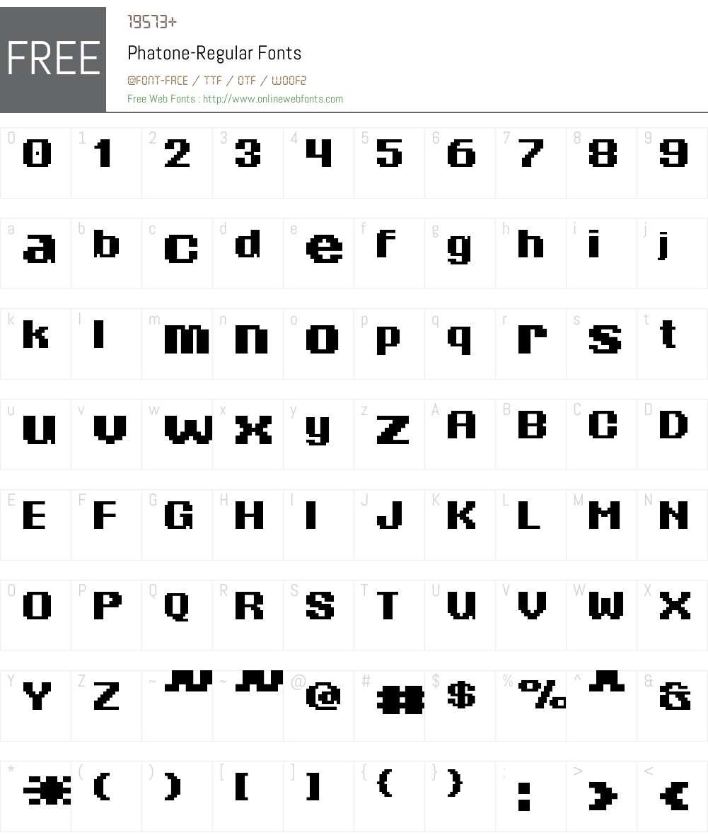Phatone Font Screenshots