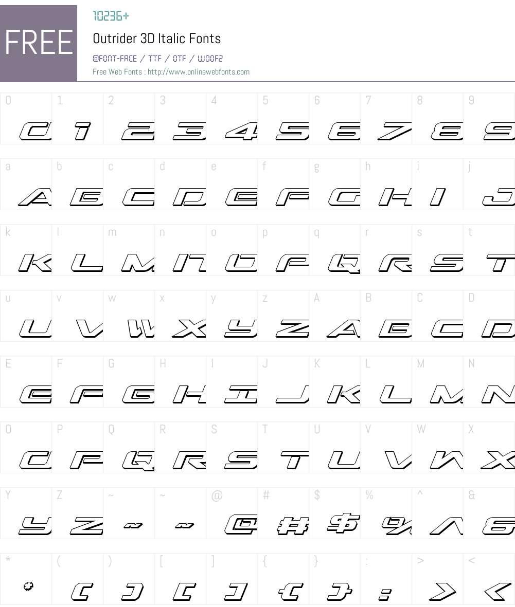 Outrider 3D Italic Font Screenshots