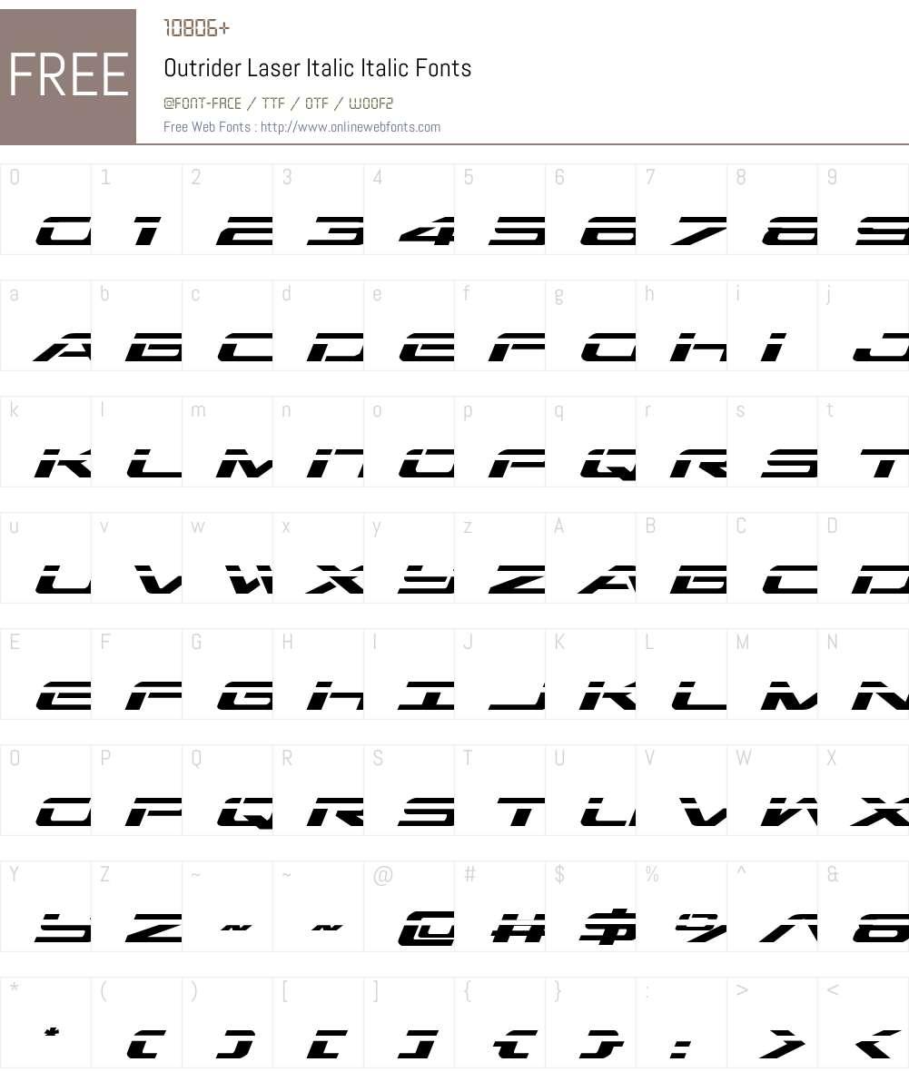 Outrider Laser Italic Font Screenshots
