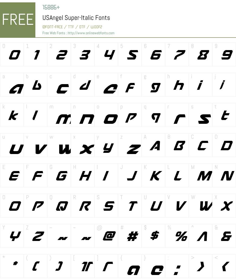 USAngel Super-Italic Font Screenshots