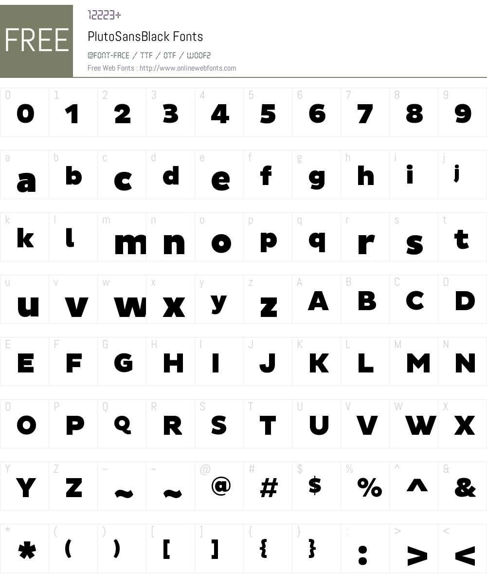 Pluto Sans Black Font Screenshots