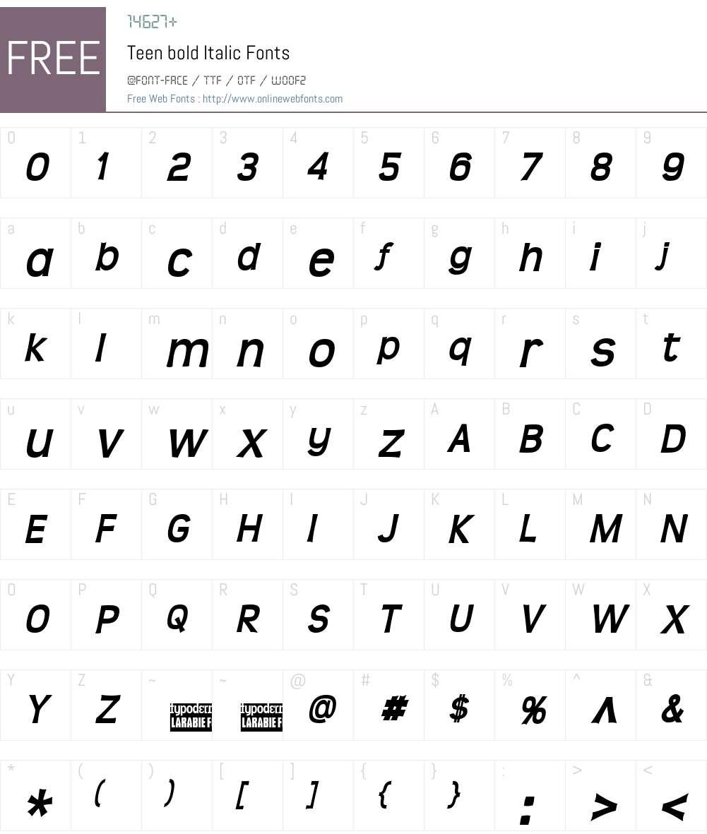 Teen Font Screenshots