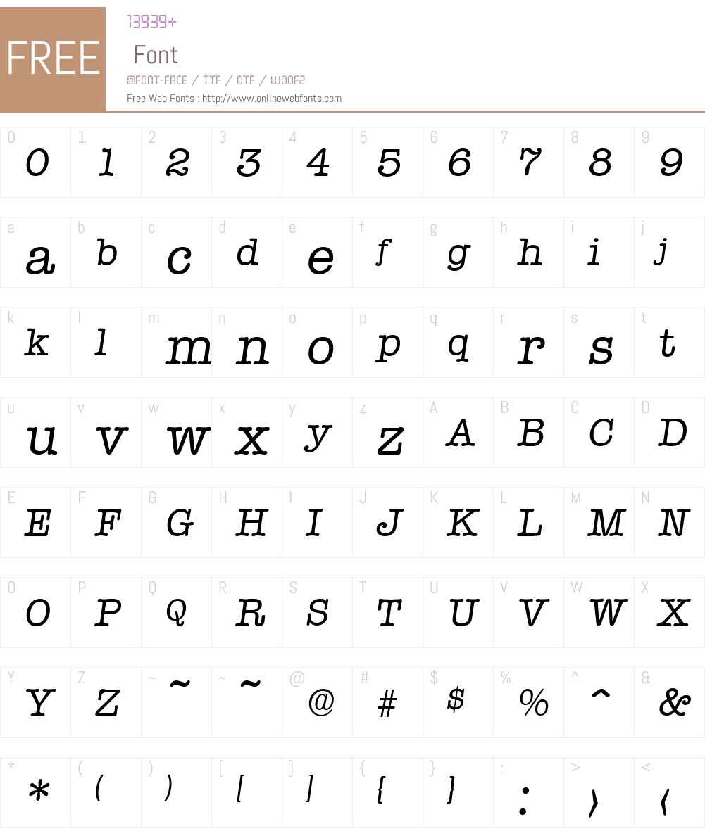 Typewriter-Serial DB Font Screenshots