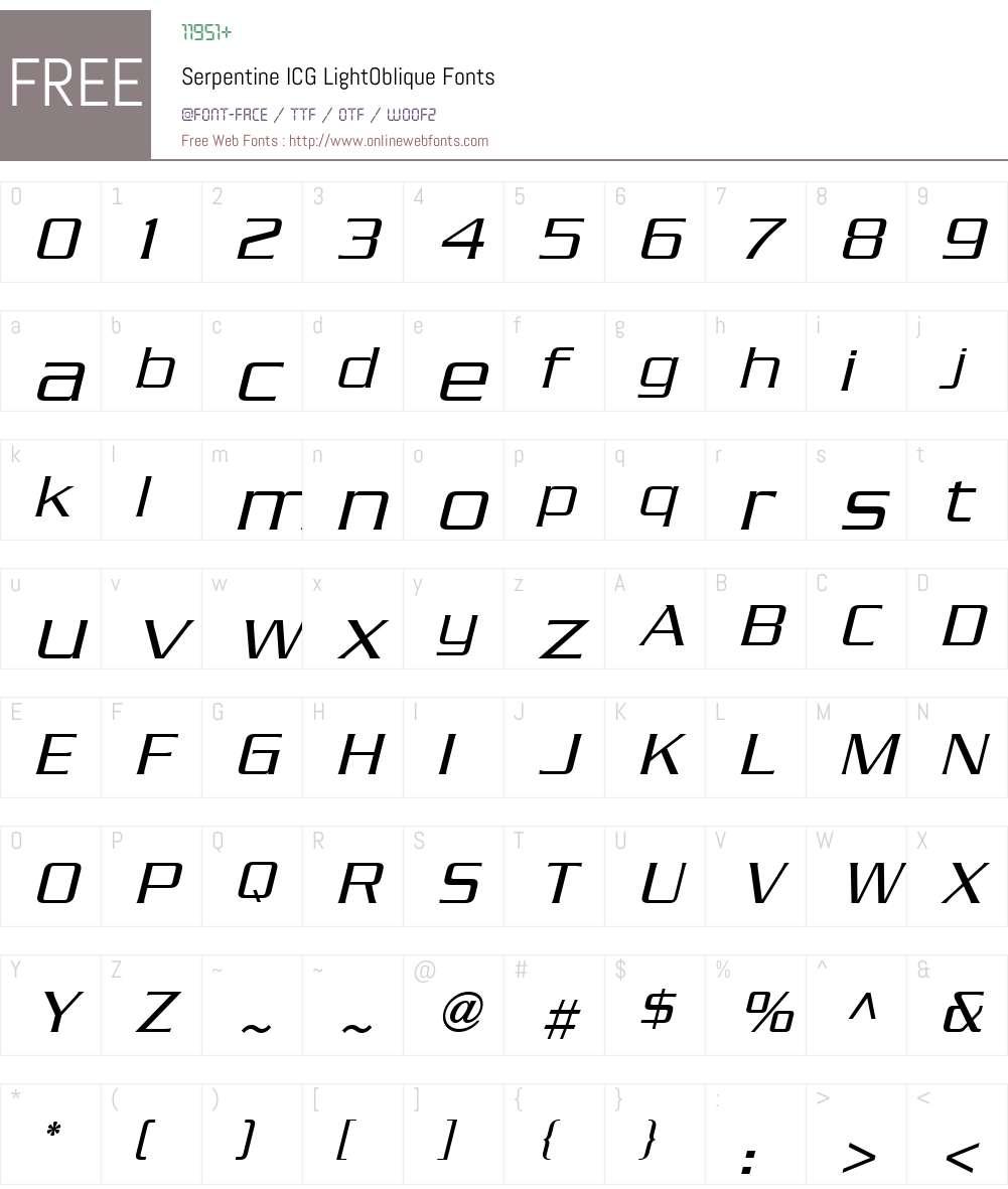 Serpentine ICG Font Screenshots