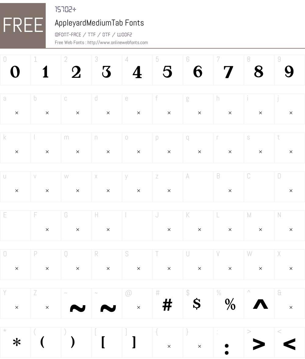 AppleyardMediumTab Font Screenshots