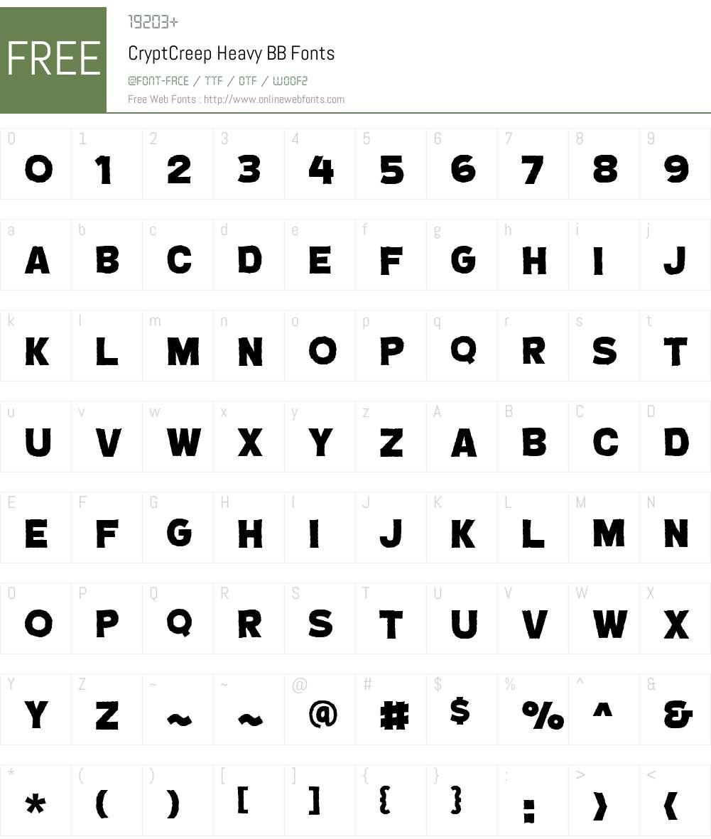 CryptCreep Heavy BB Font Screenshots