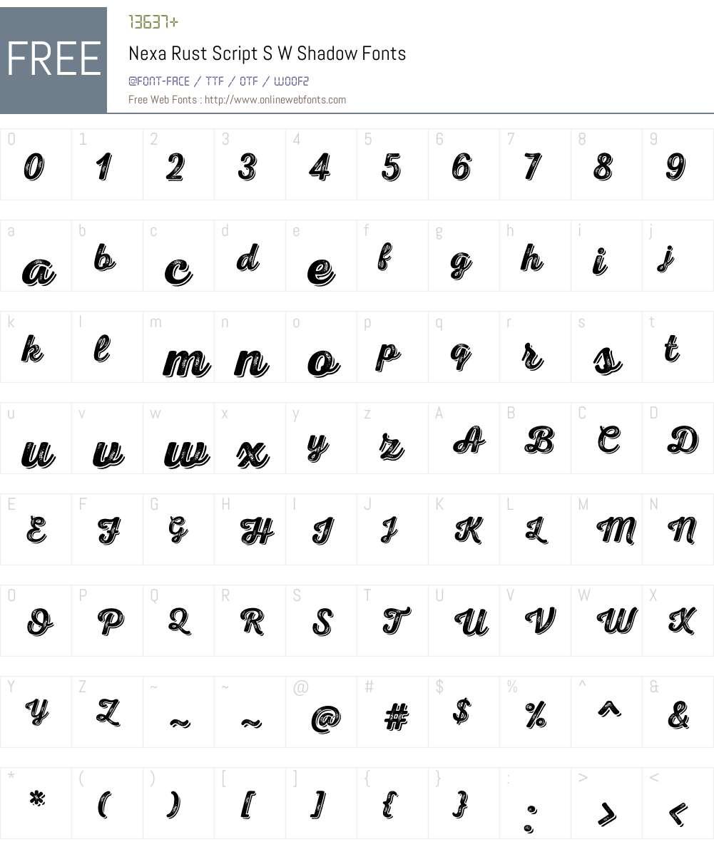 NexaRustScriptSW-Shadow Font Screenshots