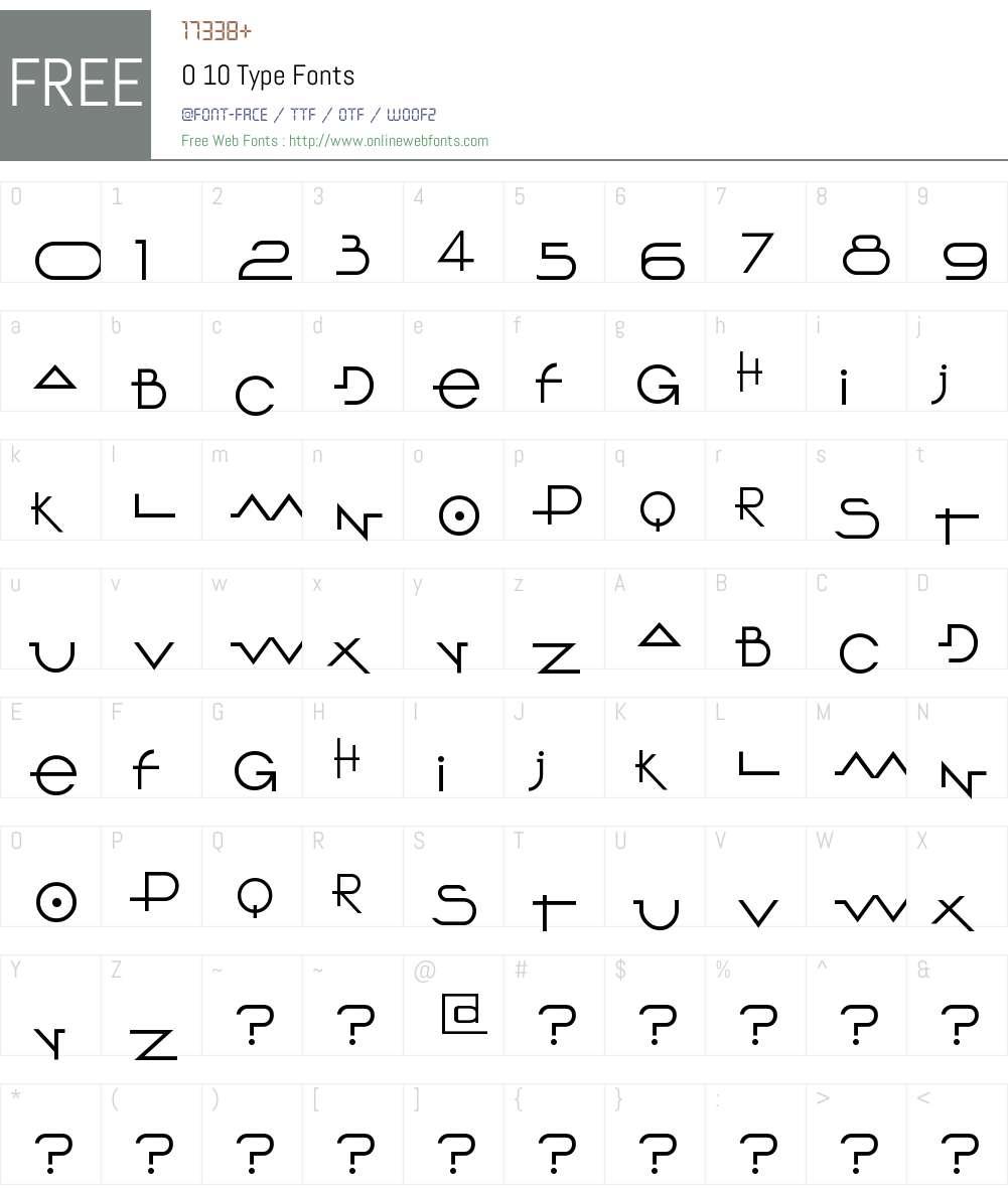 O 10 Type Font Screenshots