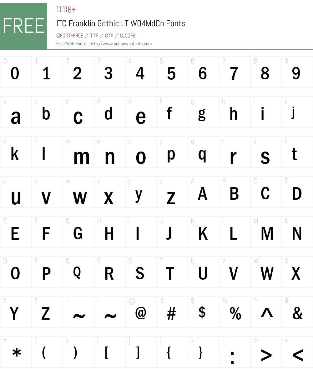 ITCFranklinGothic Font Screenshots