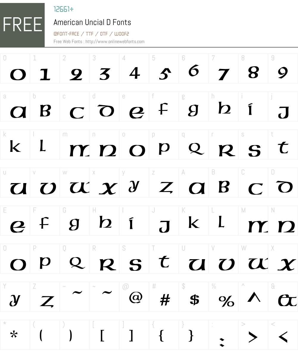 American Uncial D Font Screenshots