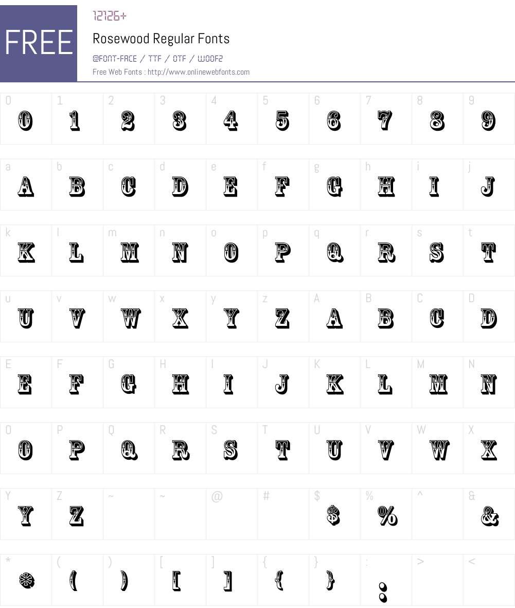 Rosewood Font Screenshots
