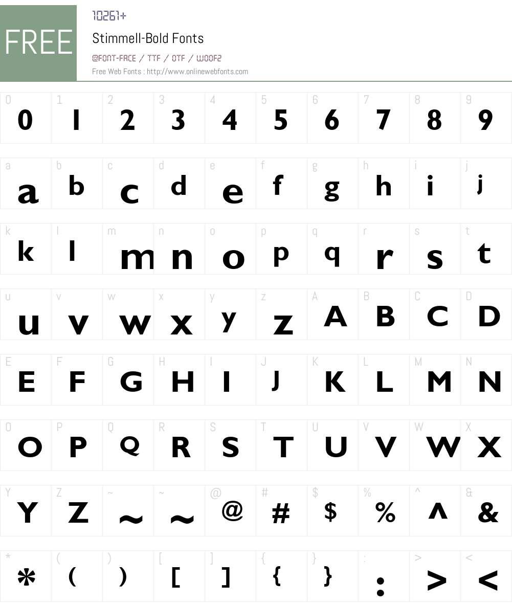 Stimmell-Bold Font Screenshots
