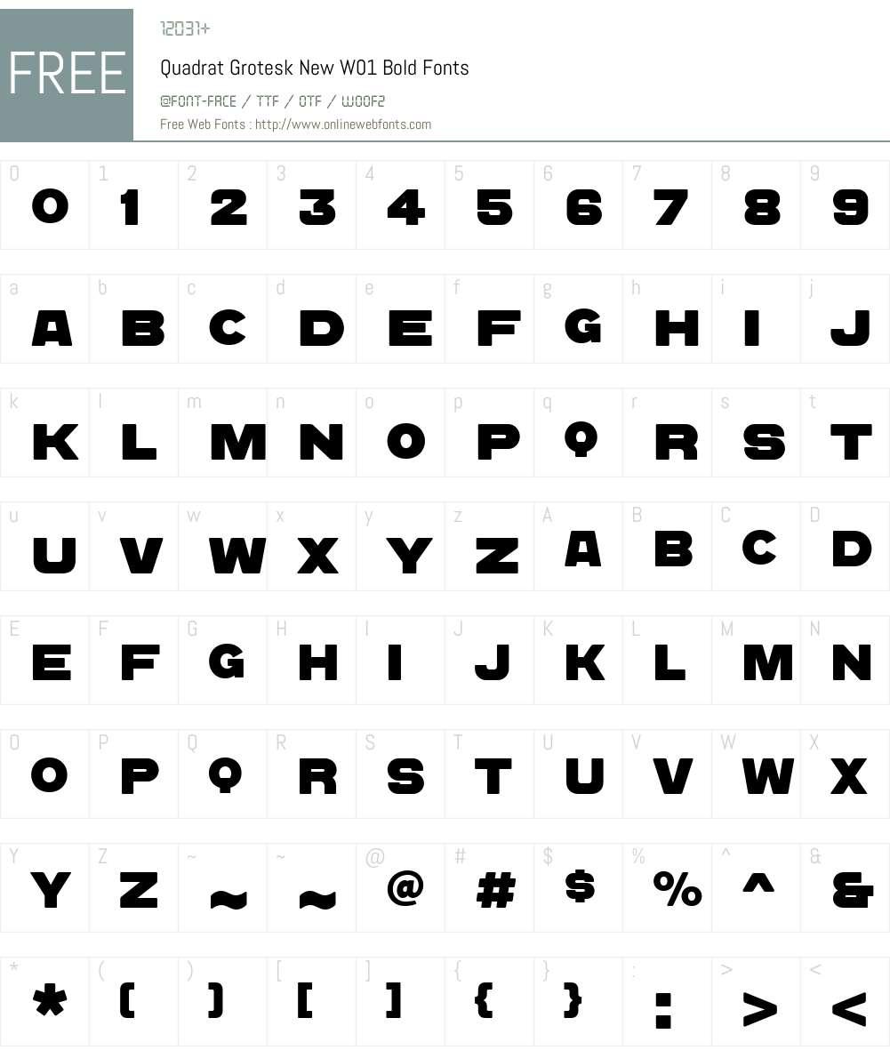 QuadratGroteskNewW01-Bold Font Screenshots