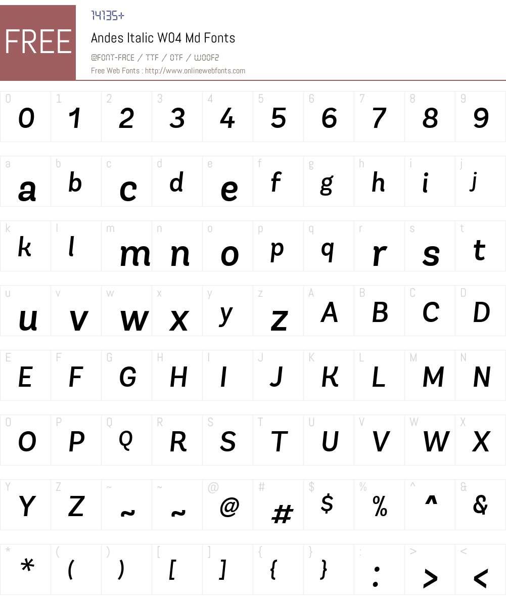 AndesItalicW04-Md Font Screenshots