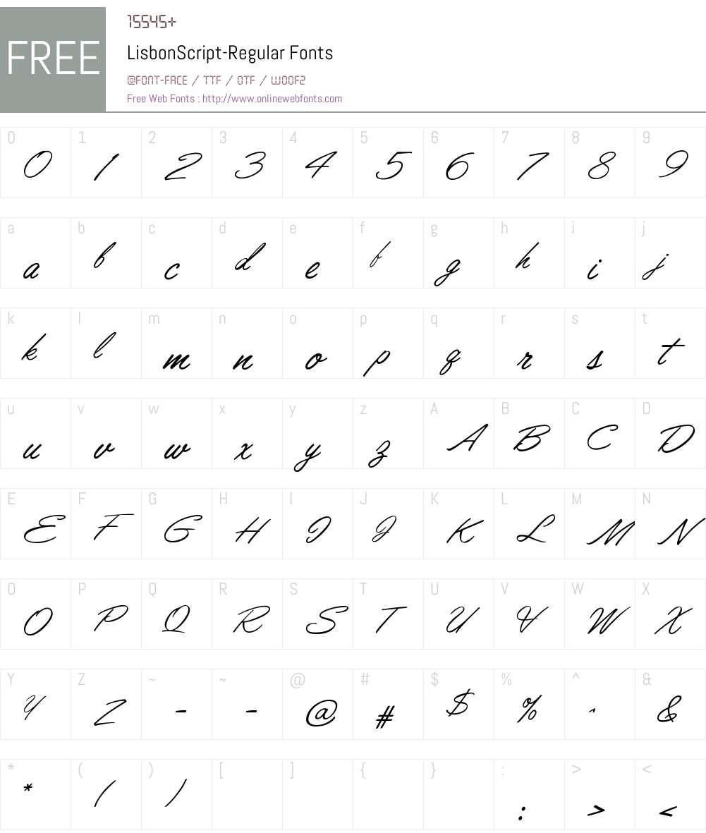 LisbonScript Font Screenshots