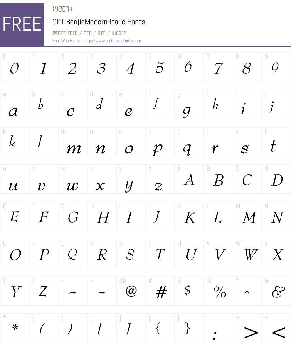 OPTIBenjieModern-Italic Font Screenshots