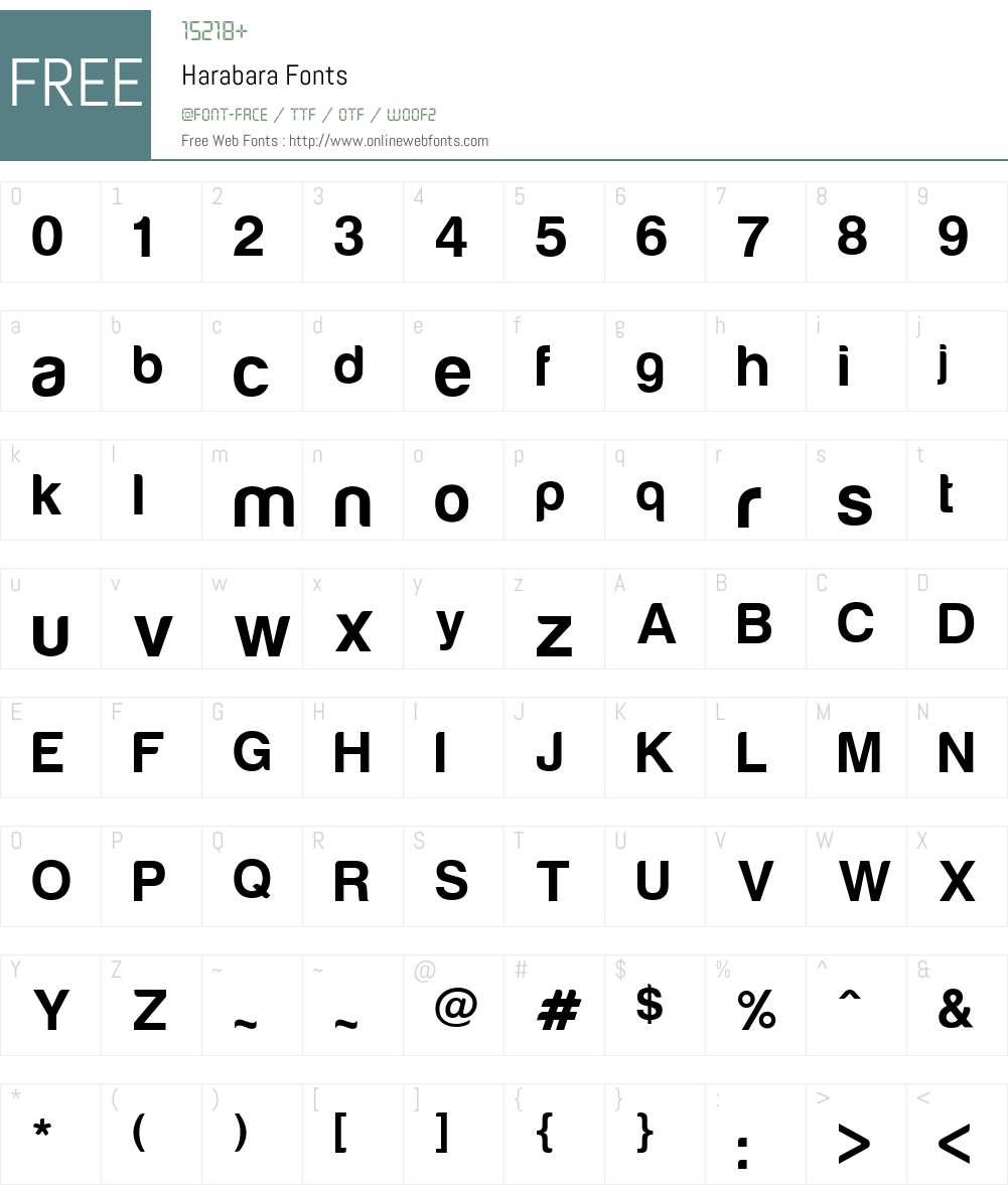 Harabara Font Screenshots