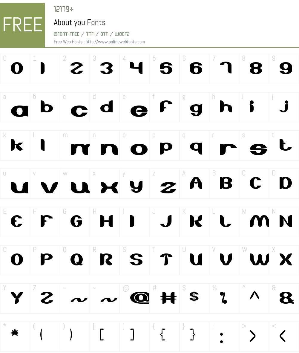 About you Font Screenshots