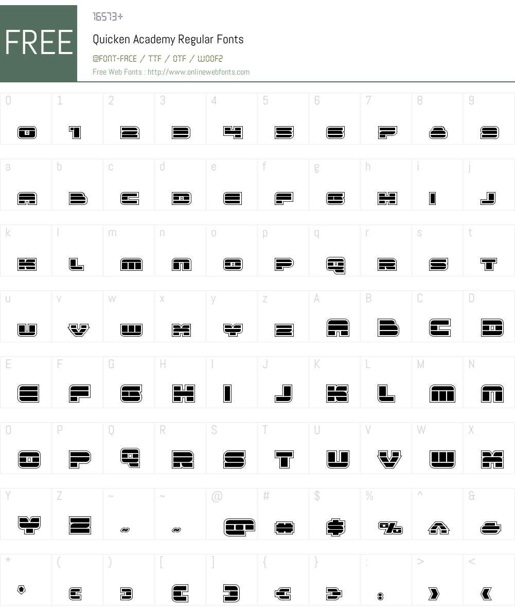 Quicken Academy Font Screenshots