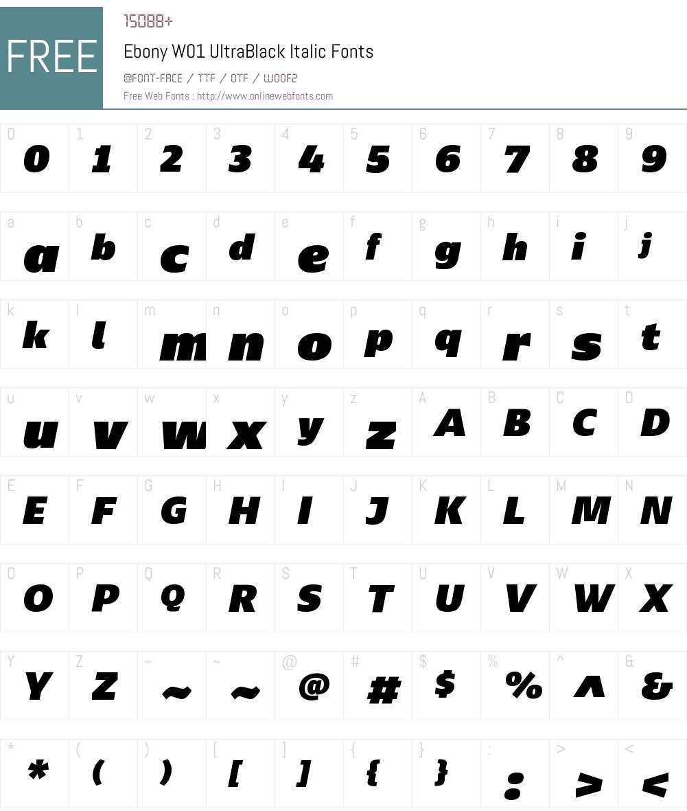 EbonyW01-UltraBlackItalic Font Screenshots