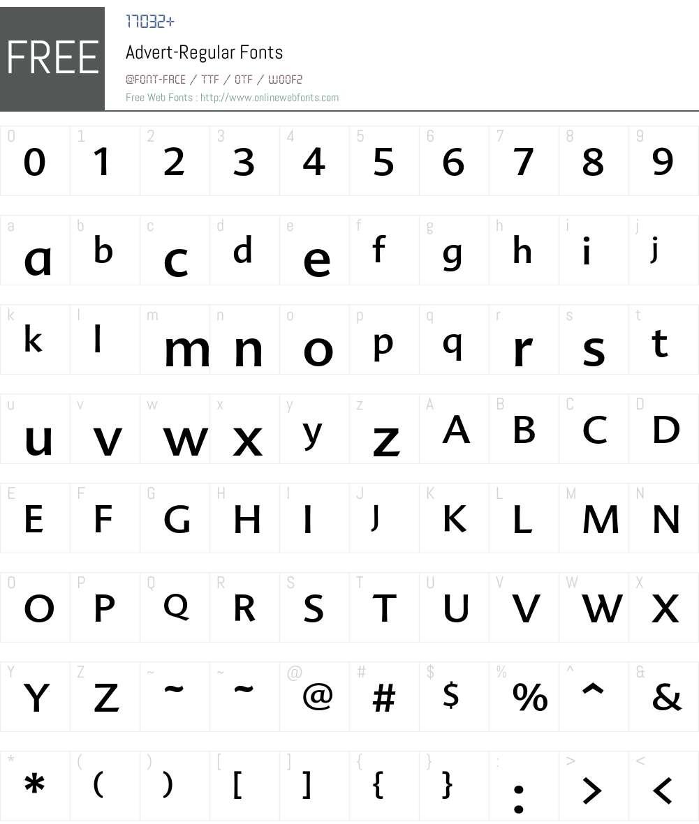 Advert Font Screenshots