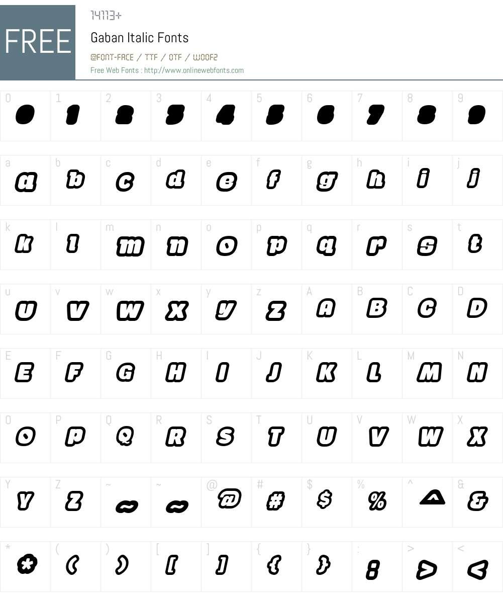 Gaban Font Screenshots