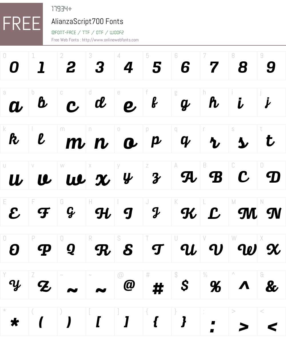 Alianza Script 700 Font Screenshots