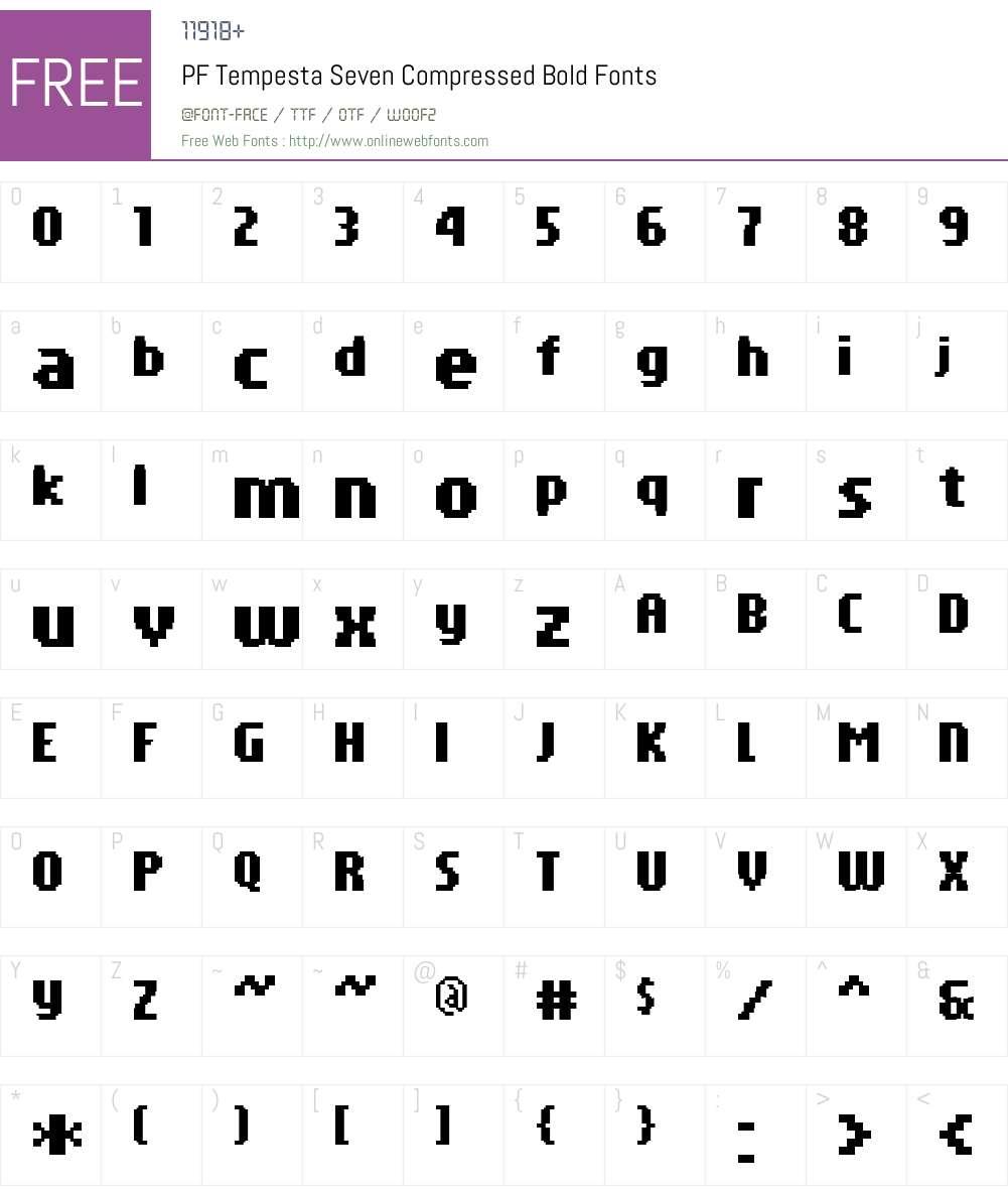 PF Tempesta Seven Compressed Font Screenshots