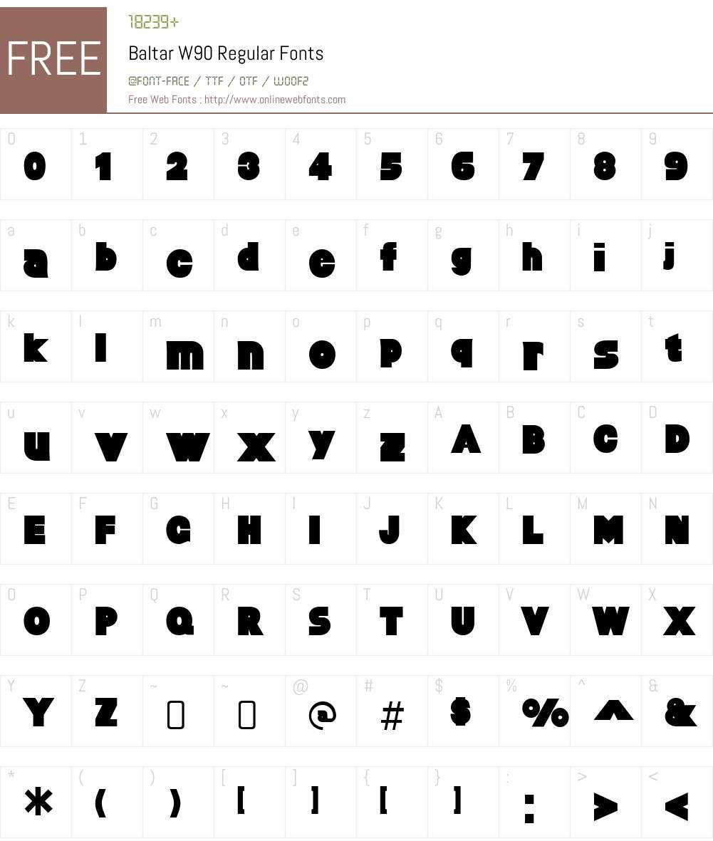 BaltarW90-Regular Font Screenshots