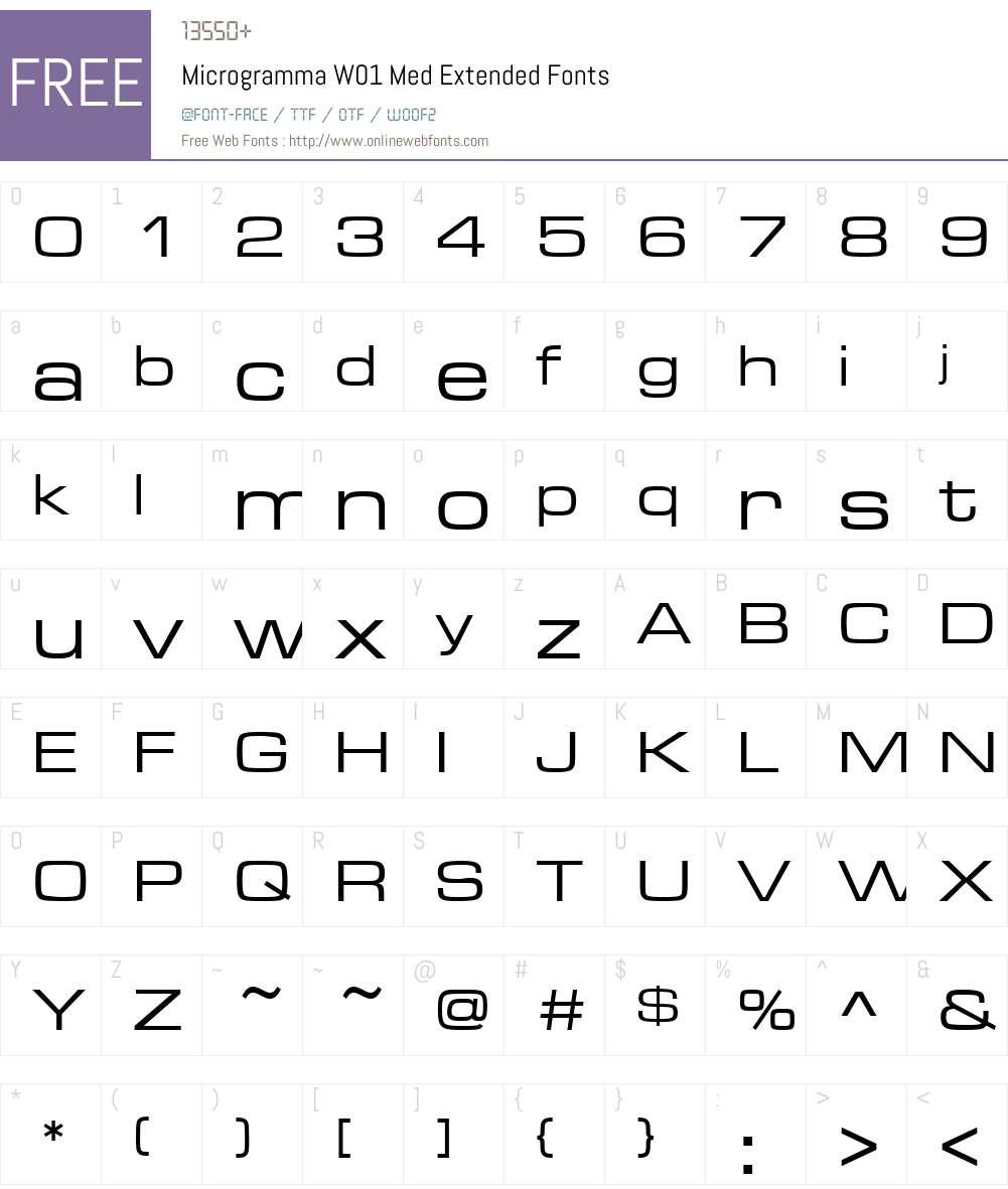 MicrogrammaW01-MedExtended Font Screenshots