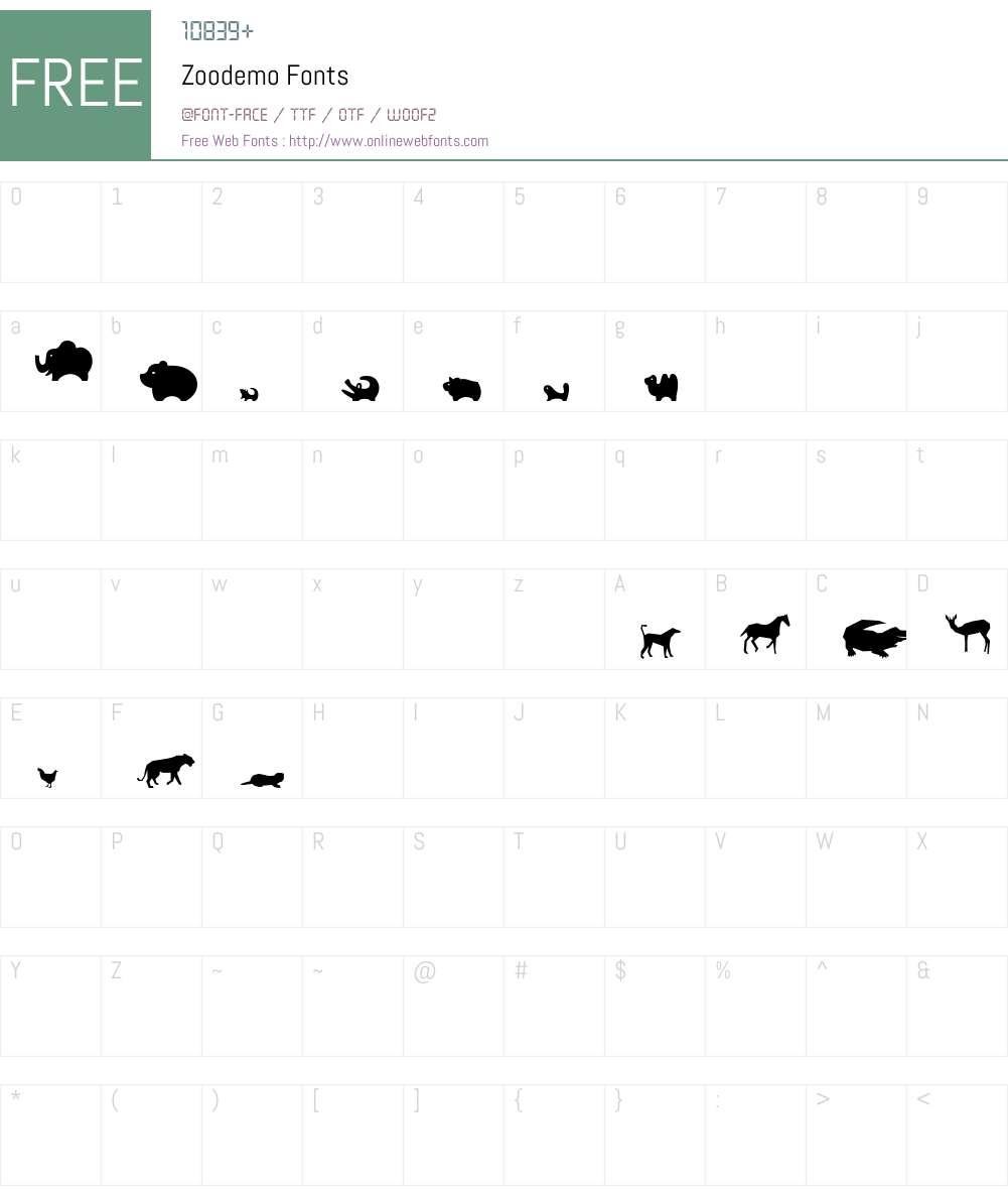 Zoodemo Font Screenshots