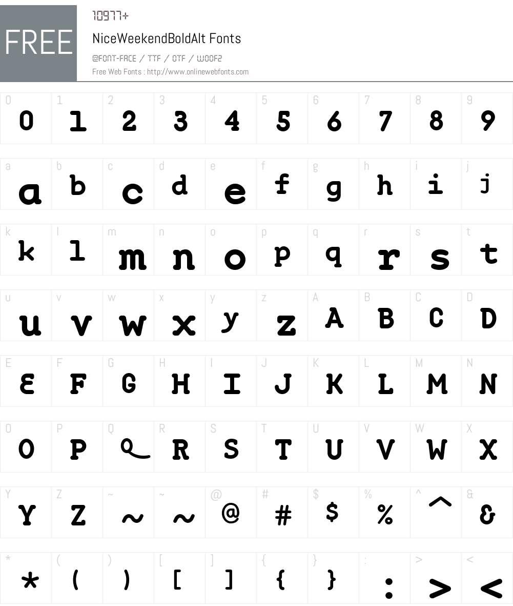 NiceWeekendW00-BdAlt Font Screenshots