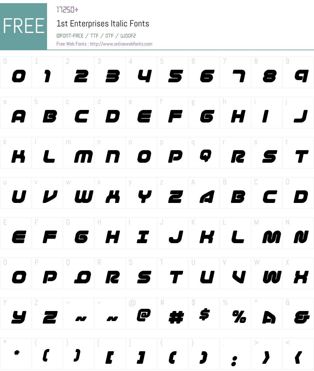 1st Enterprises Italic Font Screenshots