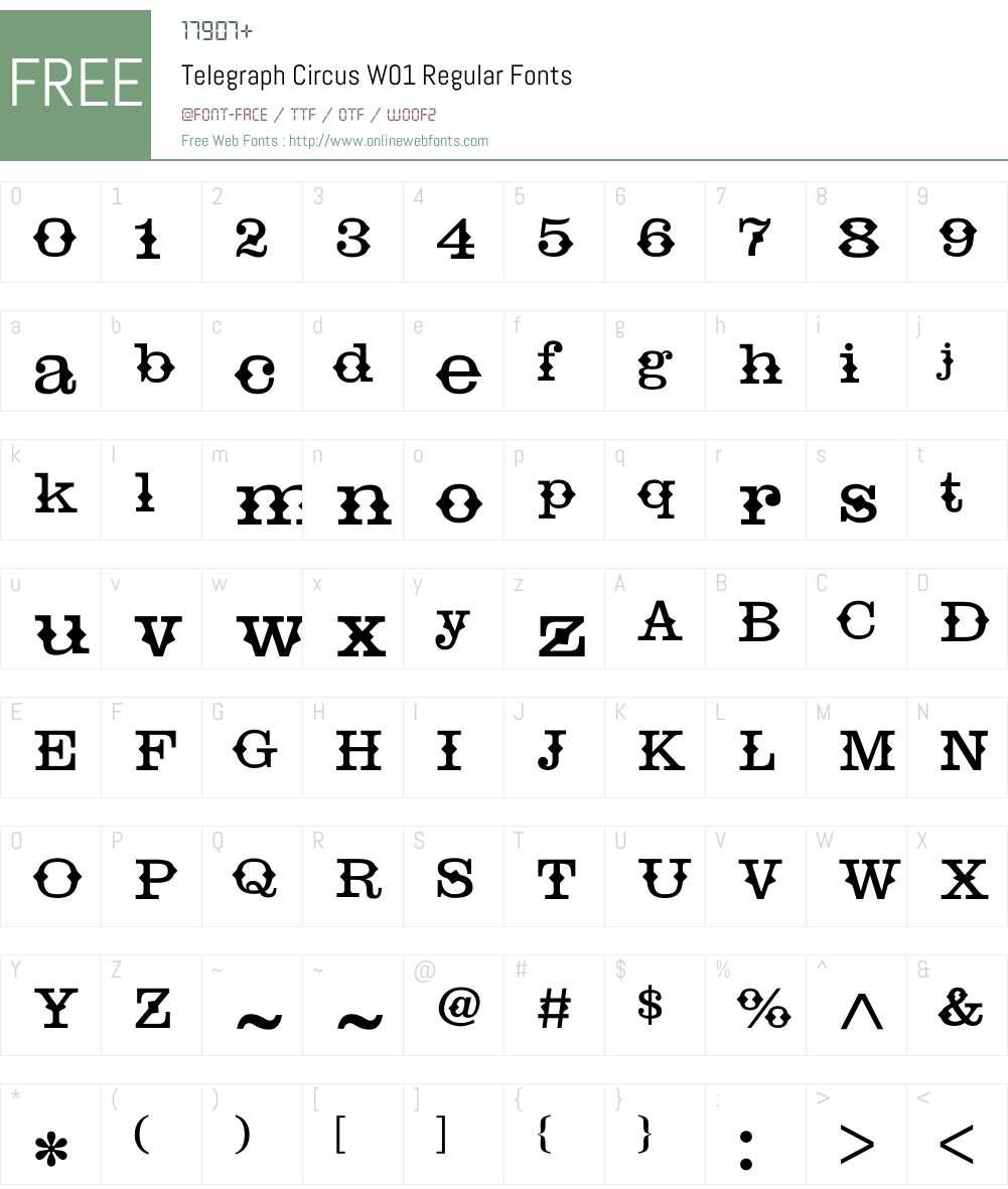 TelegraphCircusW01-Regular Font Screenshots