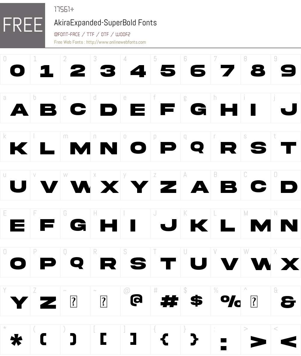 Akira Expanded Font Screenshots