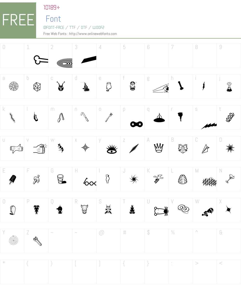 Thingbat Font Screenshots