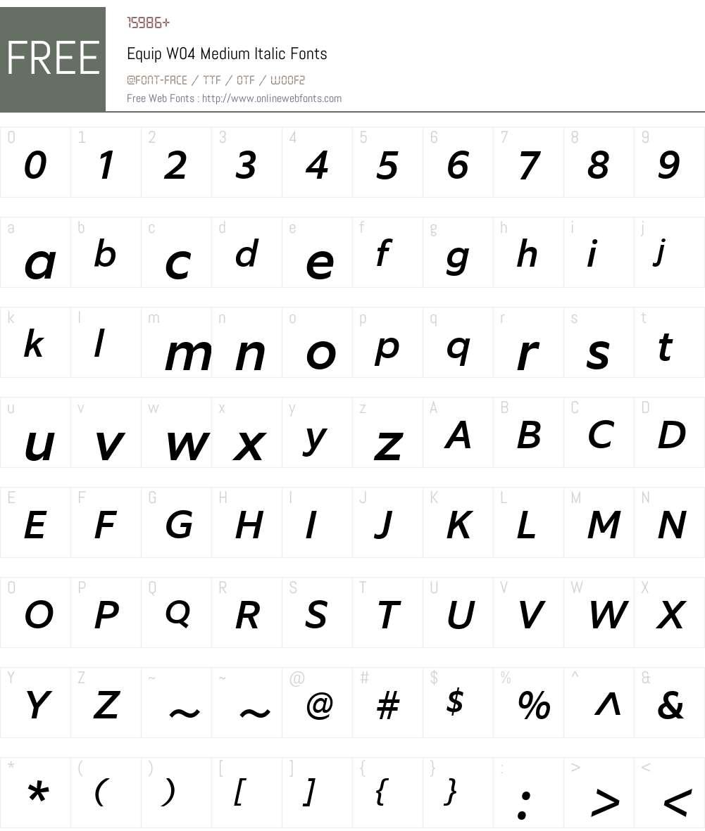 Equip Font Screenshots