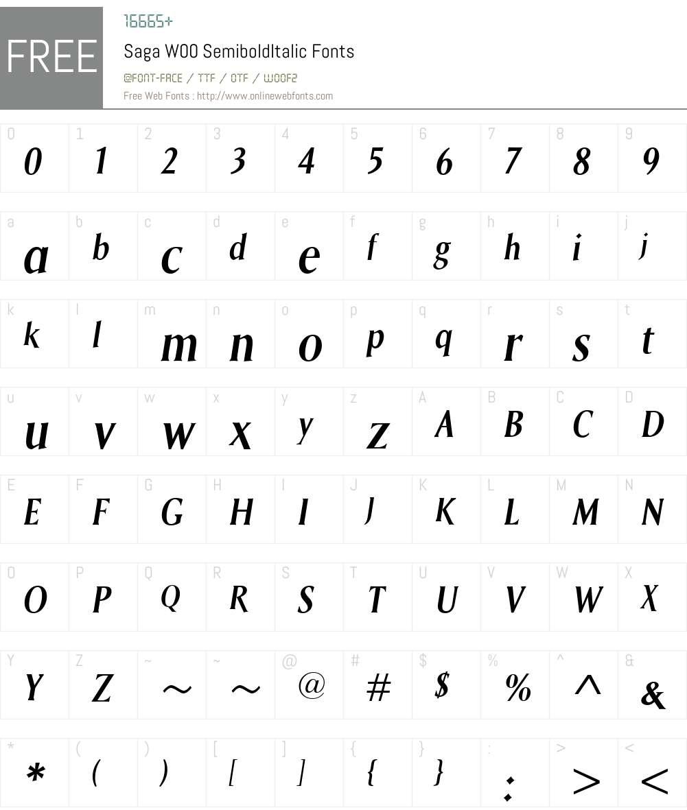 SagaW00-SemiboldItalic Font Screenshots