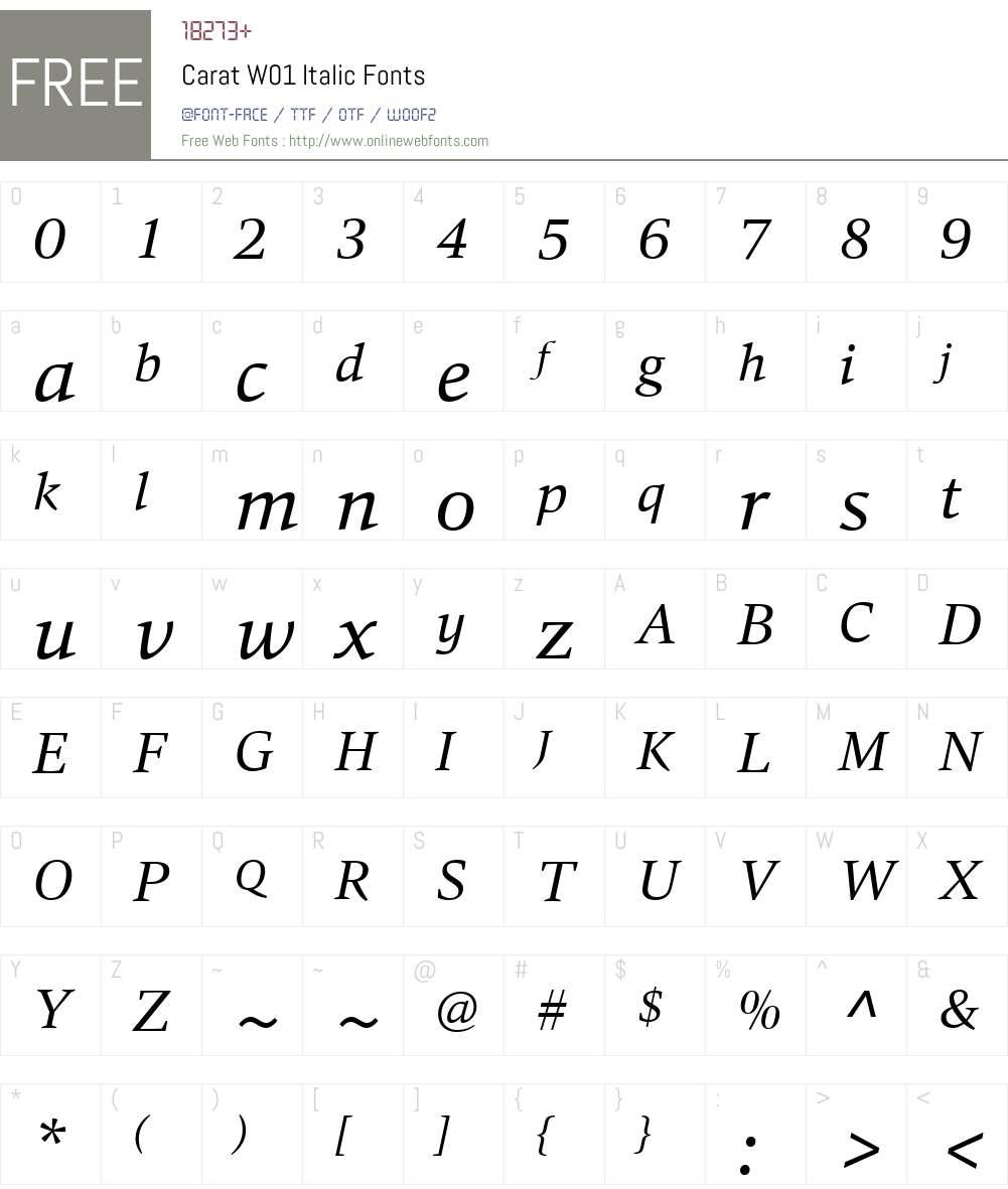 CaratW01-Italic Font Screenshots