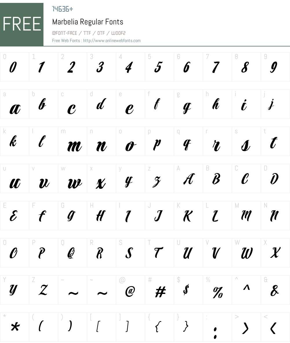 Marbelia Regular Font Screenshots