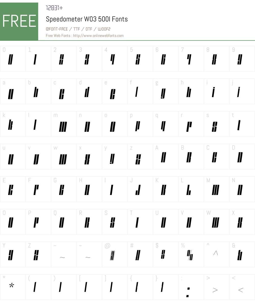 Speedometer Font Screenshots