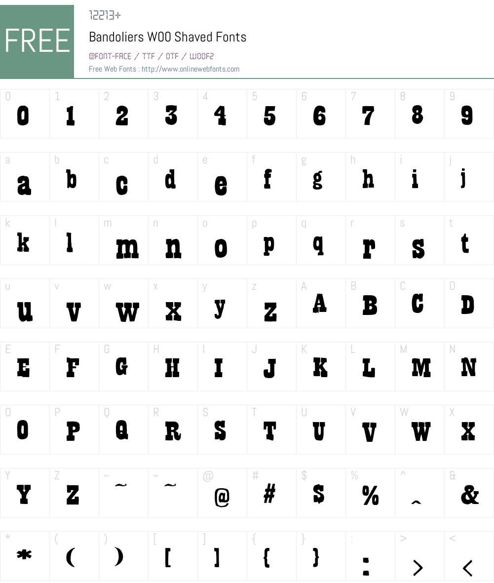 BandoliersW00-Shaved Font Screenshots