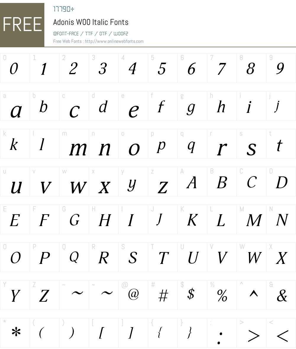 AdonisW00-Italic Font Screenshots