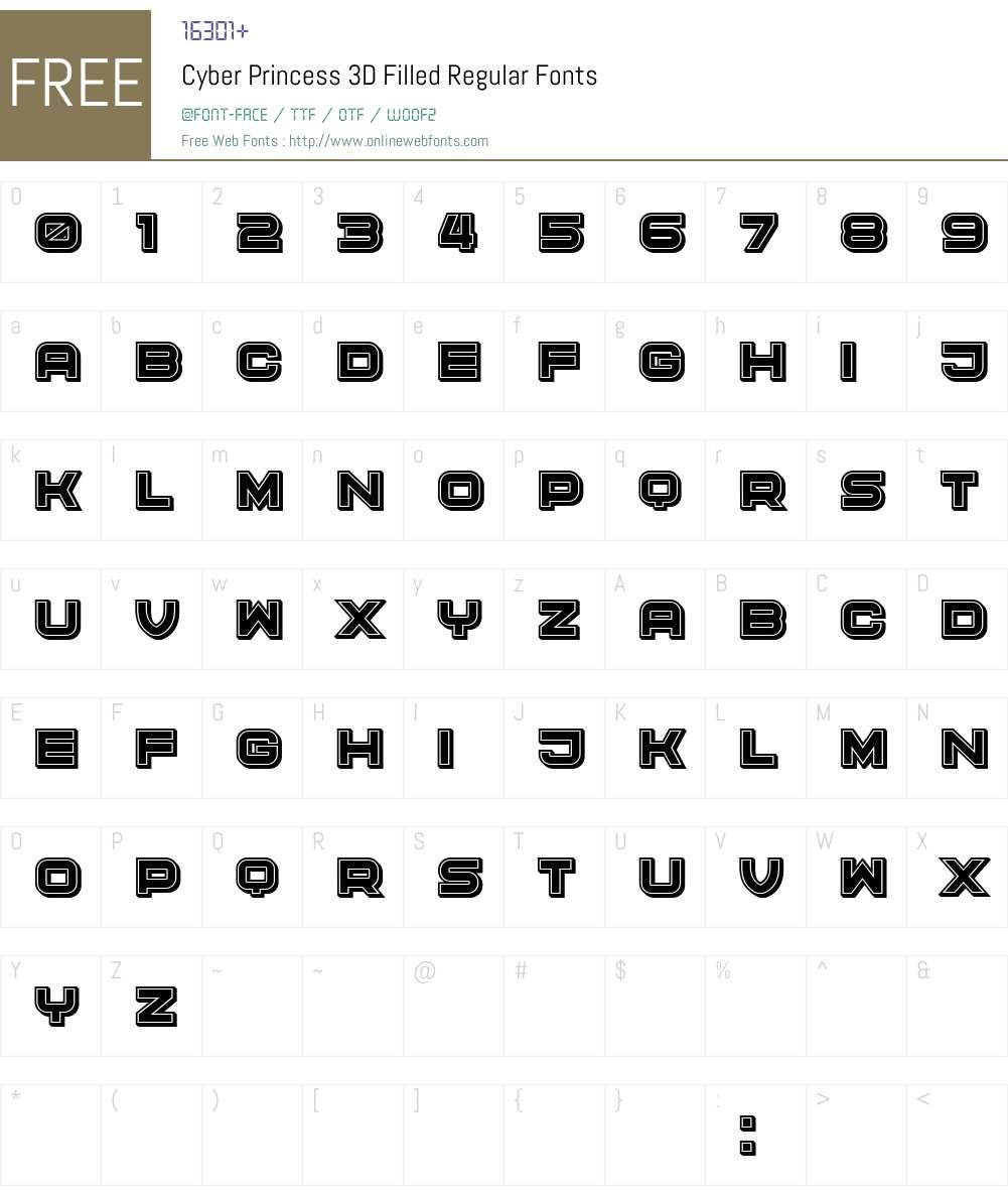 Cyber Princess 3D Filled Font Screenshots