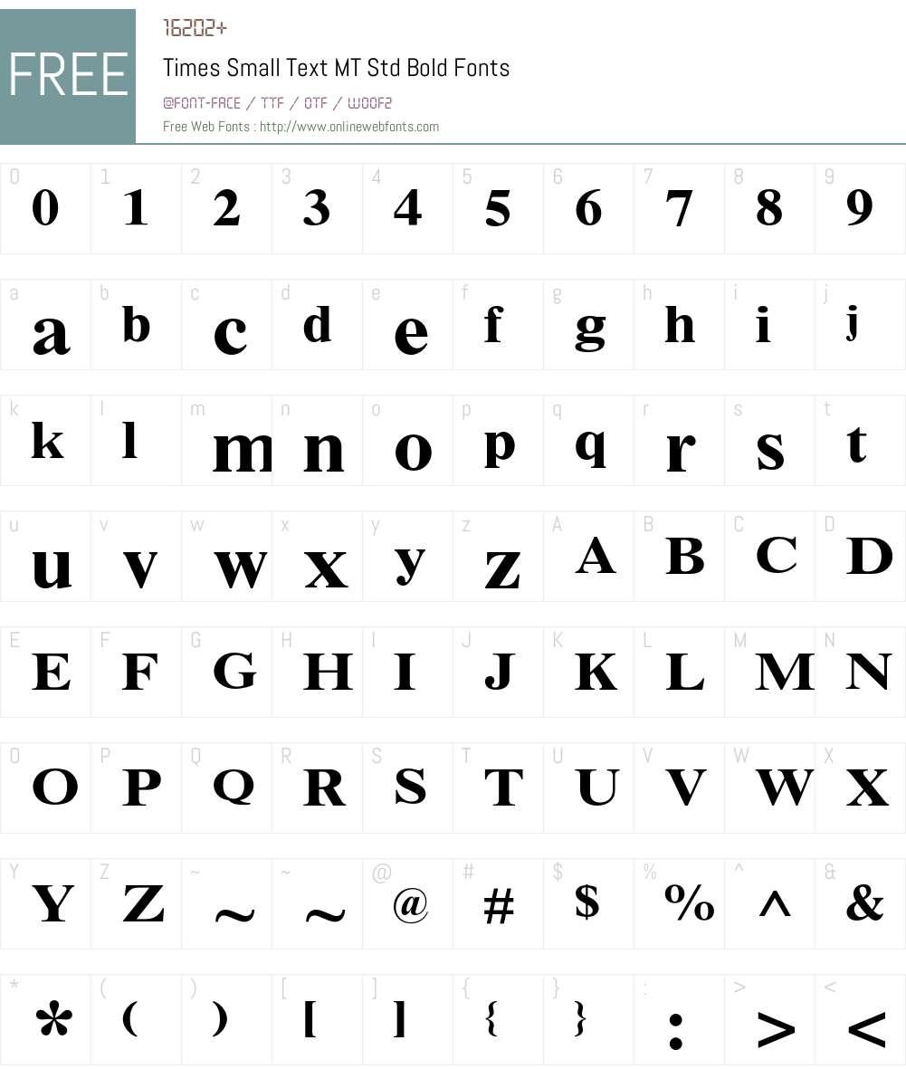 Times Small Text MT Std Font Screenshots